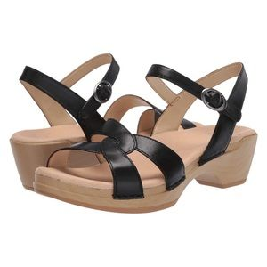 Dansko Karman Burnished Calf Sandals In Black